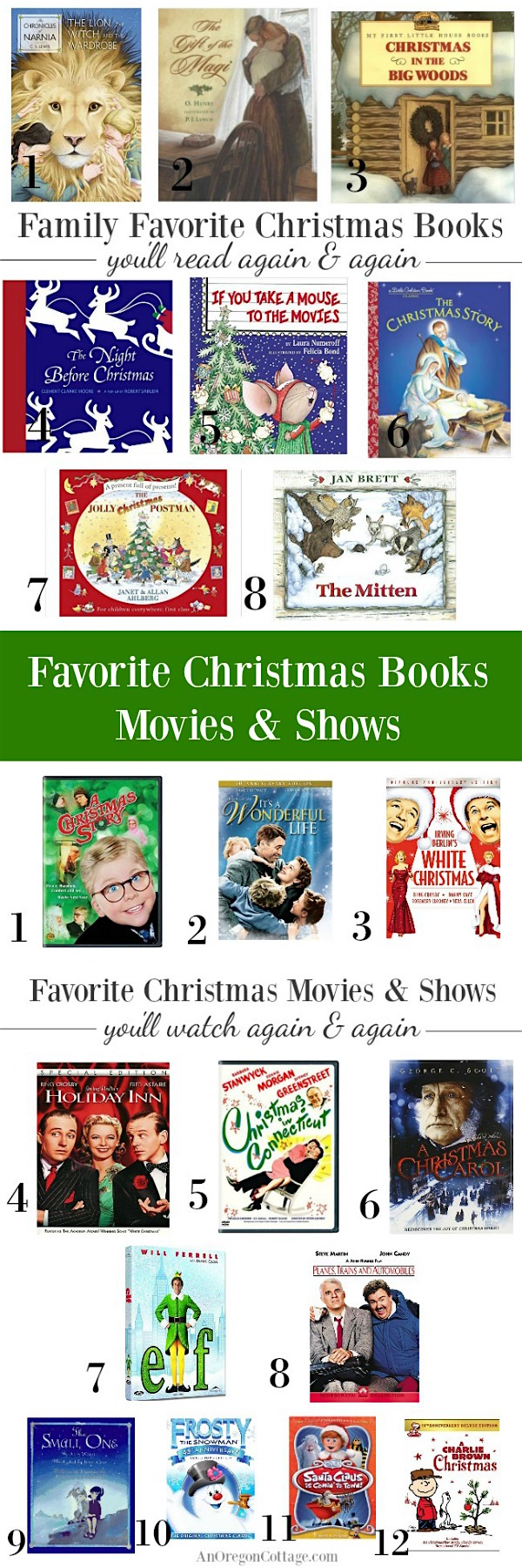 Family favorite Christmas books, movies and TV shows your whole family will love from AnOregonCottage.com
