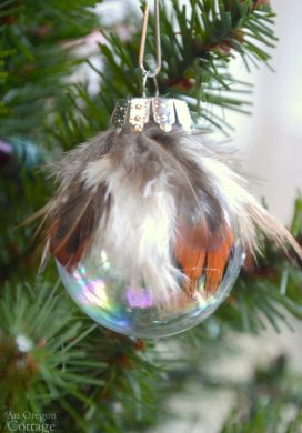 Simple & Unique feather and ball Christmas Ornament