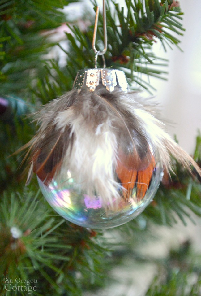 Simple Feather Amp Glass Ball Christmas Ornament Diy