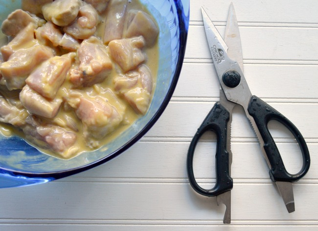Maple Mustard Bacon Chicken Bites-use kitchen shears to cut chicken tip