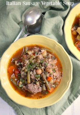 Slow Cooker Italian Sausage Vegetable Soup made in a traditional slow cooker or Instant Pot slow cooker