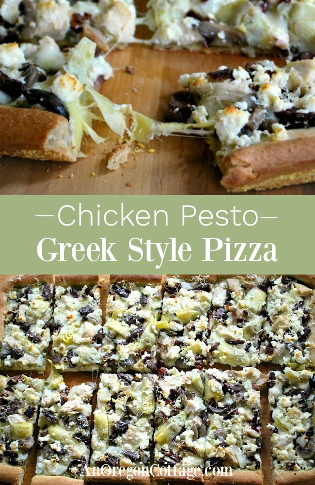 Chicken Pesto Greek Style Pizza-pin