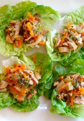 Chicken-Lime lettuce wraps