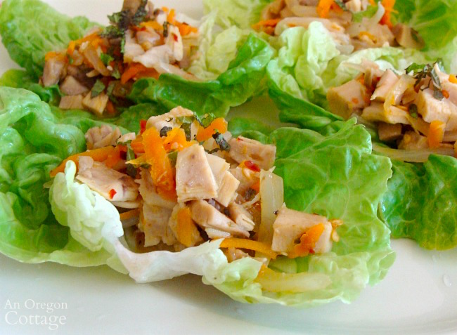 Chicken lime lettuce wraps-easy dinner with rotisserie chicken