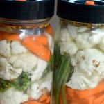 Fermented pickled vegetables-filled jars
