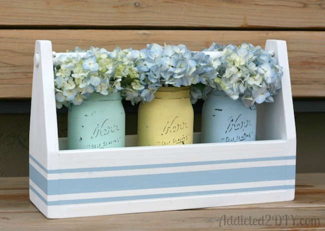 Grainsack chalk-painted mason jar spring centerpiece at Addicted 2 DIY