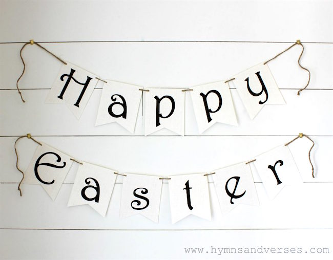 Knock off Pottery Barn Easter banner printable at Hymns and Verses