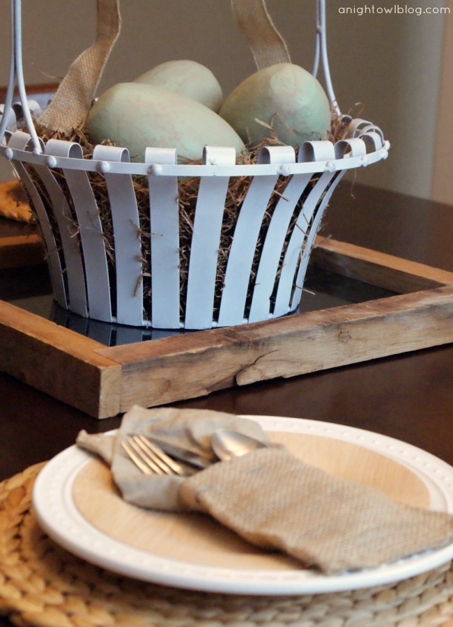 Neutral Burlap Easter Tablescape at A Night Owl Blog