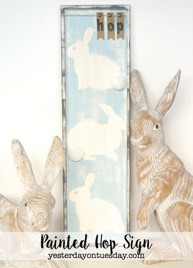 Painted wood bunny hop sign at Yesterday on Tuesday