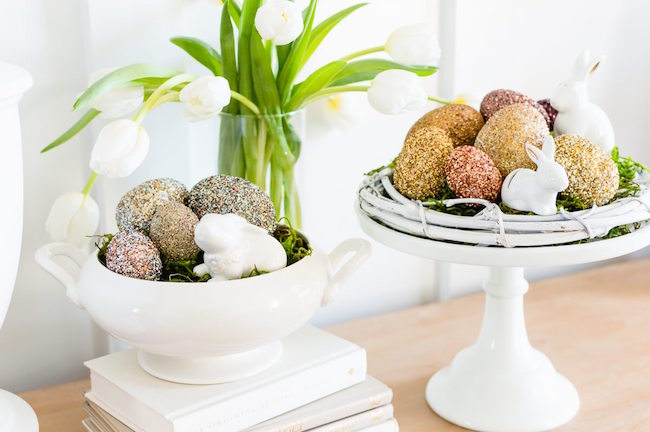 Pottery Barn inspired glitter Easter eggs at The Home I Create