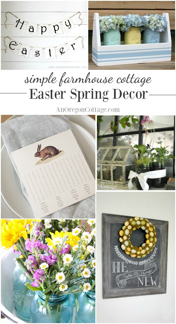Simple farmhouse cottage Easter spring decor ideas for your home and table.