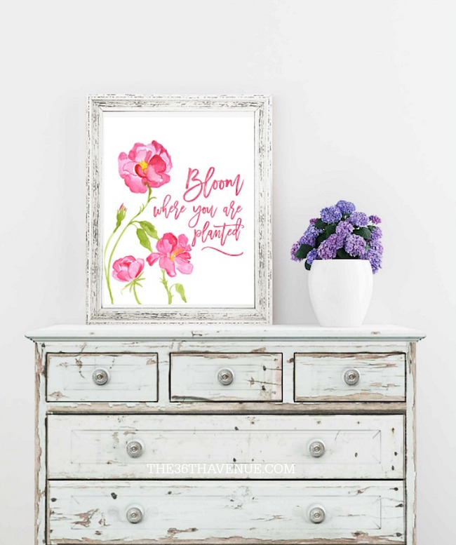 Bloom where you are planted spring Easter printable at The 36th Avenue