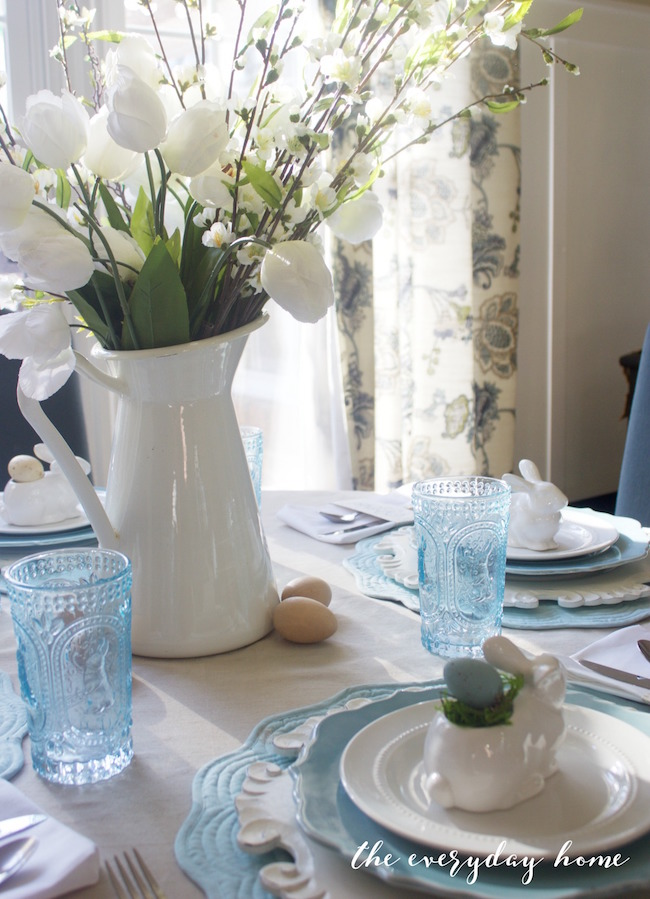 Light, airy blue and white Easter table at The Everyday Home