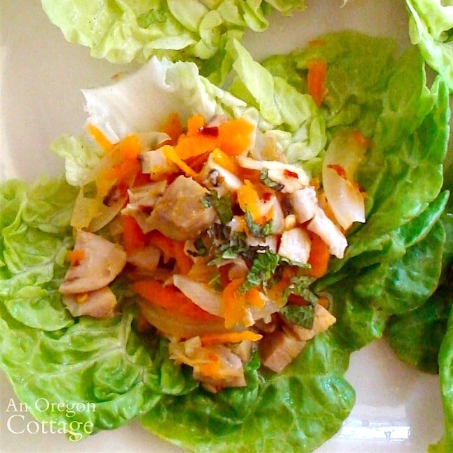 chicken lime lettuce wrap above