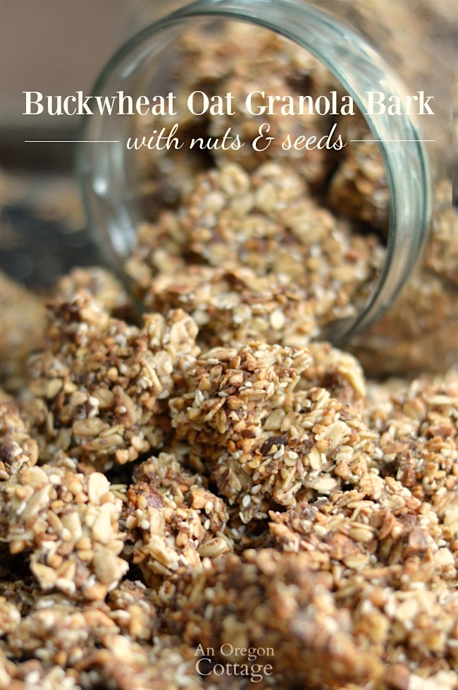 Oat Granola Bark with Nuts & Seeds in jar