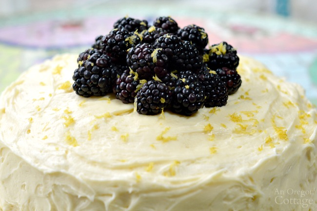 Lemon Blackberry Cake with fresh berries
