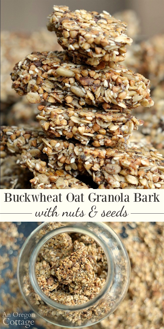 Buckwheat Oat Granola Bark with Nuts and Seeds for healthy breakfasts