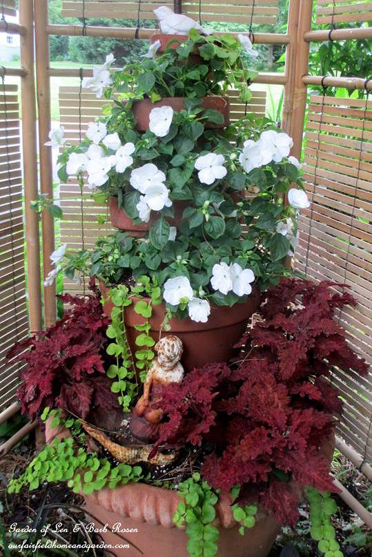 Container Gardening ideas for shade-impatiens coleus creeping jenny at Our Fairfield Home