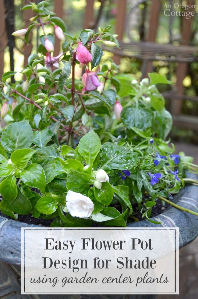 Easy & pretty flower pot design for shade 'recipe' using inexpensive garden center plants plus container planting supplies and tips.