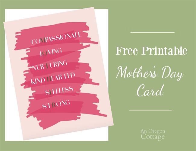 Printable mother's day card with text