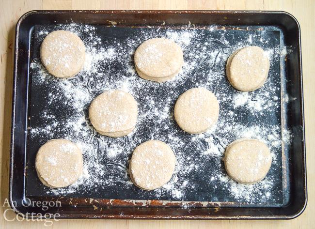 cut sourdough English muffins rising on pan