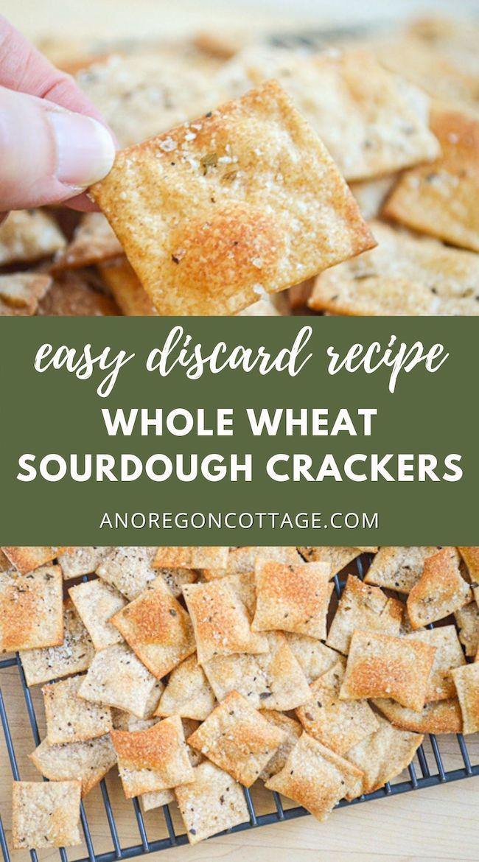 discard sourdough whole wheat crackers pin