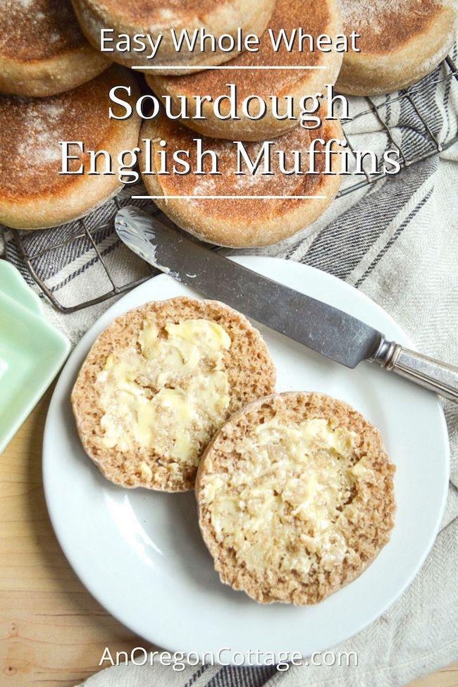 easy whole wheat sourdough english muffins