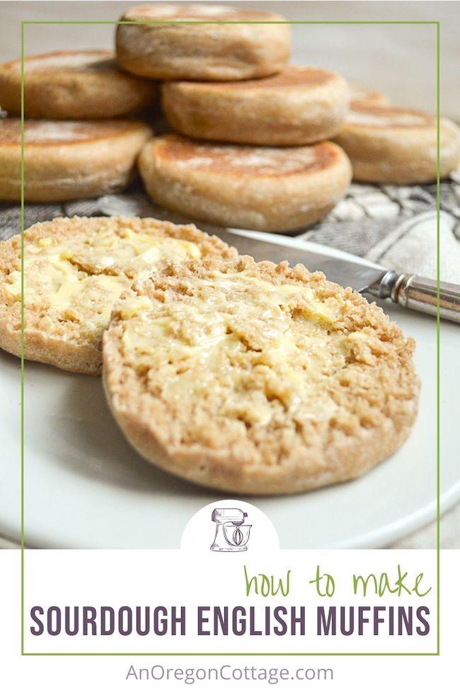 how to make sourdough english muffins-pin