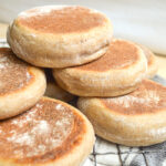 sourdough English muffins on rack