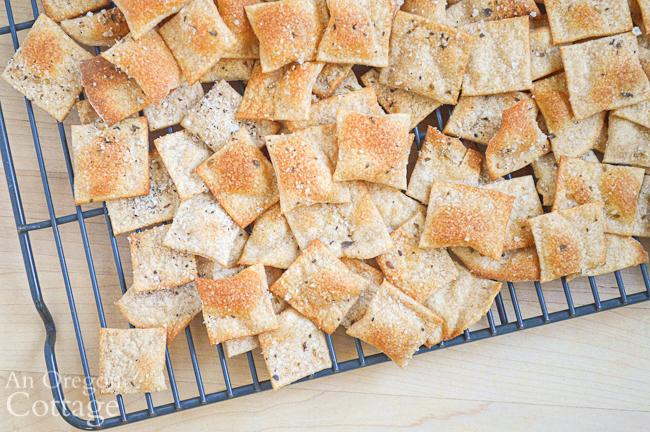 whole wheat sourdough crackers above close