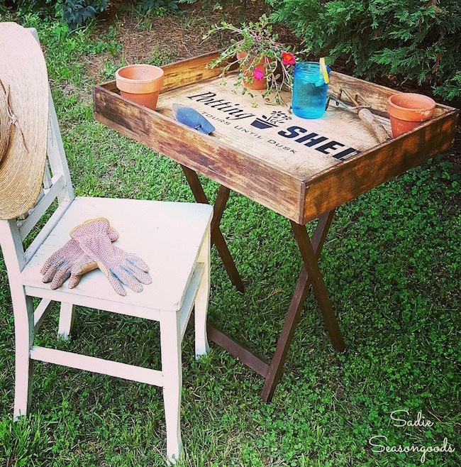 DIY Portable Potting Table from salvaged items at Sadie Seasongoods