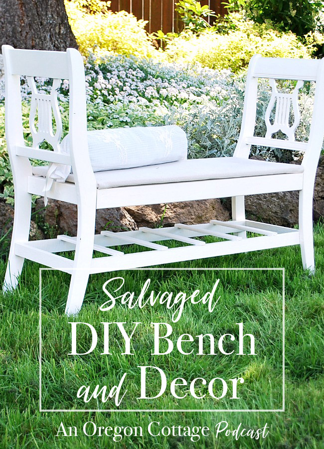 The salvage and castoff show where we talk about our first curbside find, a salvaged DIY bench from old chairs, old flooring 3 ways plus easy salads. #DIY
