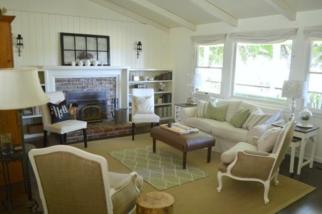 DIY Floors-Jute rug on dark floors in cottage living room