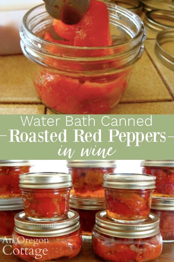 water bath canned roasted red peppers pin image