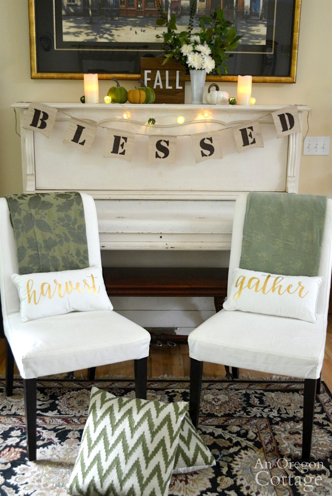 Fall decor ideas-Blessed fall green and white piano decor lit