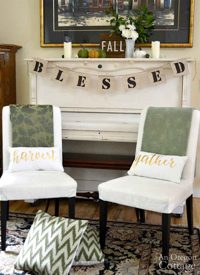 Fall Mantel Decor Idea: Blessed fall green and white piano decor