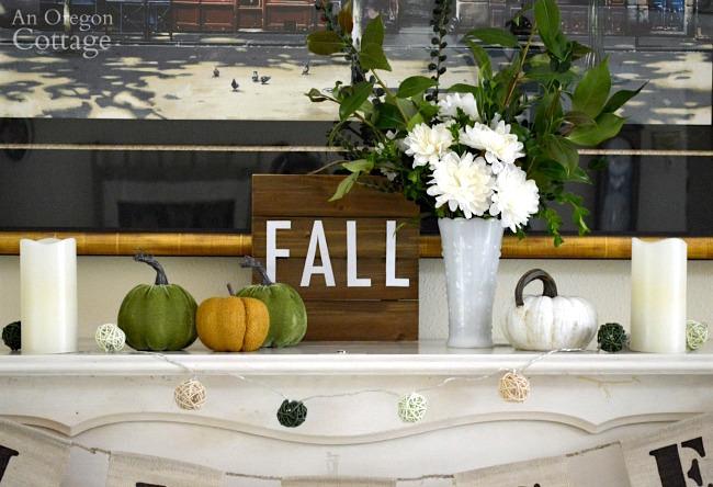 Fall mantel decor idea-green and white piano top details