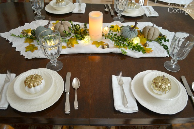 Gold green and white fall table centerpiece