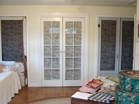 Salvaged Closet Doors for studio