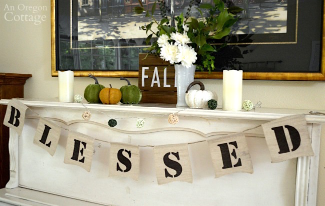 Fall Mantel Decor Idea-Simple blessed fall green and white piano unlit