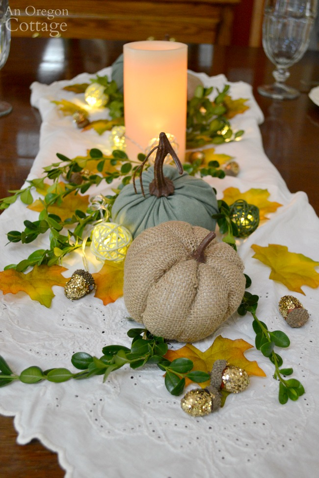 Simple gold green and white fall centerpiece