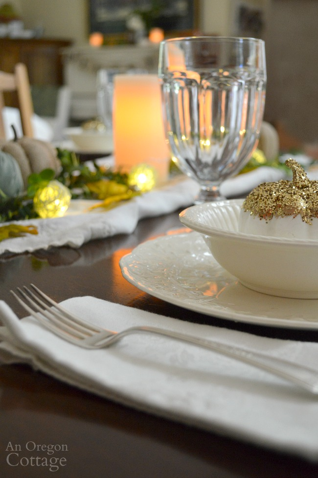 Simple gold green and white fall table detail