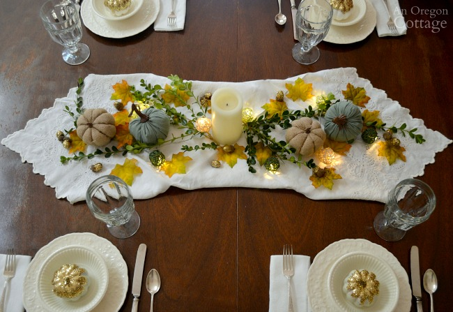 Simple gold green and white fall tablescape