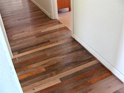 $60 Salvaged wood hall floor