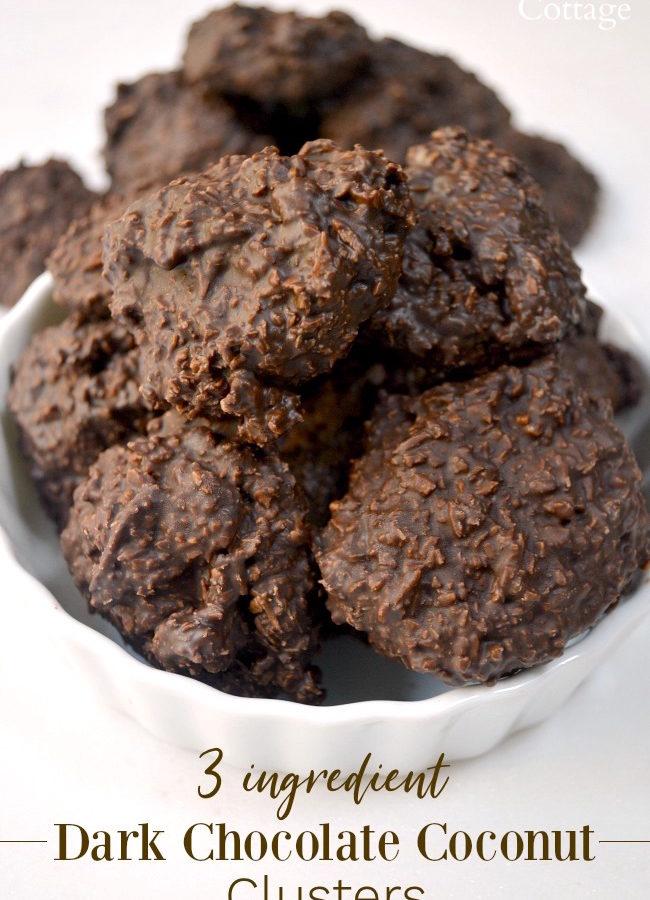 Low Sugar 3 Ingredient Dark Chocolate Coconut Clusters