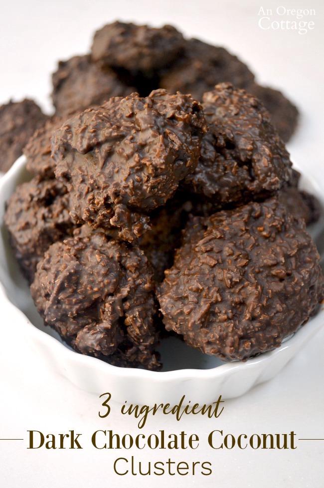 Low Sugar 3 Ingredient Dark Chocolate Coconut Clusters in bowl