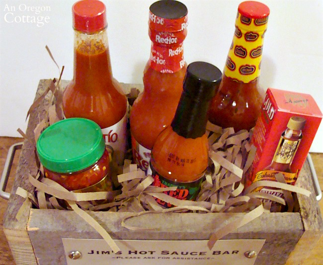 Rustic DIY Wooden Box Gift Idea Filled with Hot Sauces {or whatever