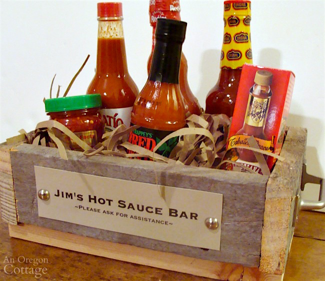 DIY wooden box handmade gift idea with hot sauce label