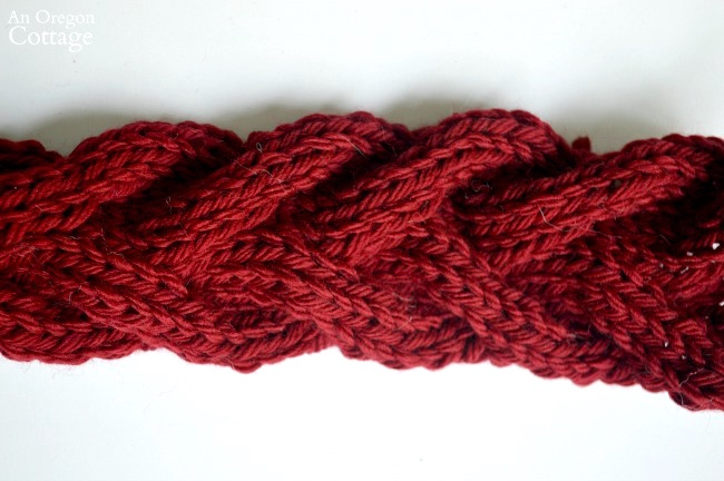 Knitted cable ear warmer headband detail