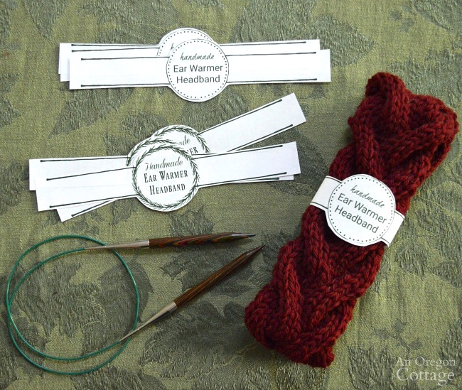 Knitted cable ear warmer headband with printable labels
